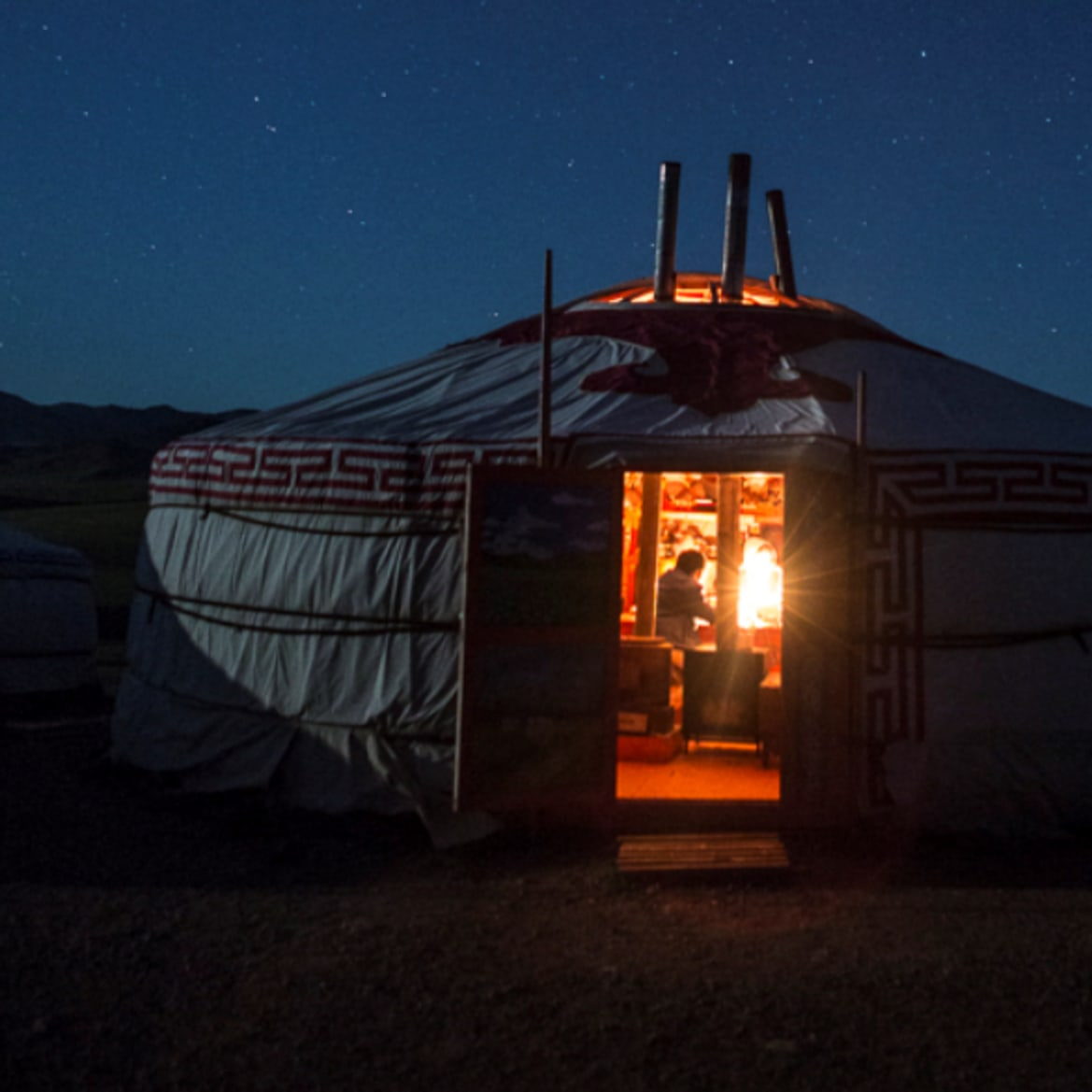 Night Time Lights in Ger - The Pavilions Mongolia